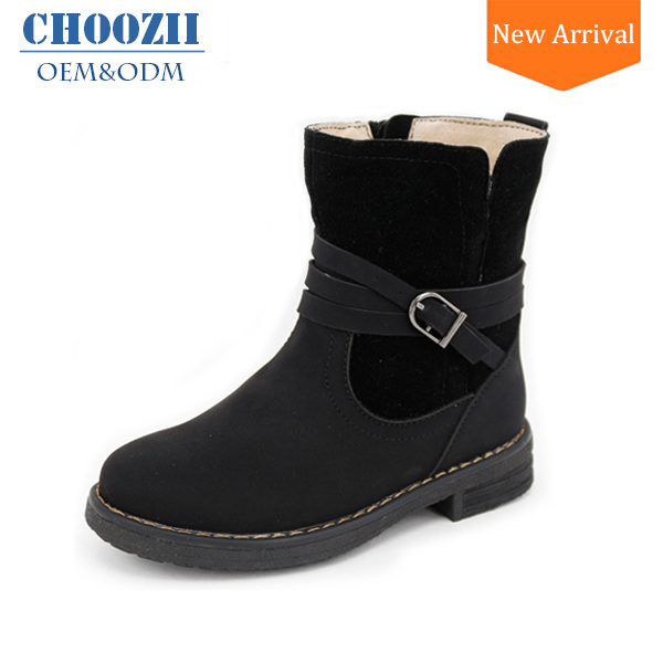 Choozii Latest Design Girls Flat Black Leather Buckle Strap Ankle Boots