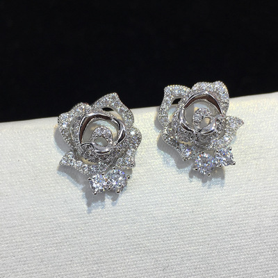 New Design Micro Pave Zircon <strong>Rose</strong> <strong>Flower</strong> Stud <strong>Earrings</strong> For Women/Girls CZ Party/Wedding Jewelry