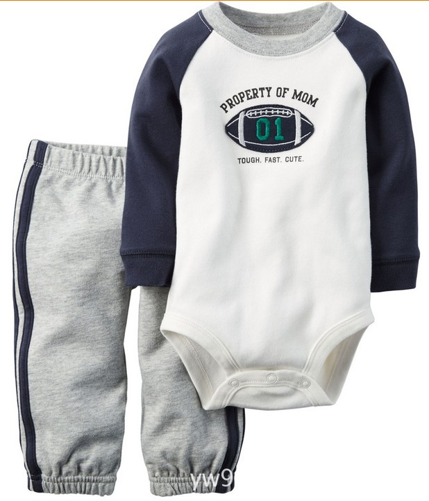2016 Autumn Winter Baby Boys Rompers Set Long-sleeve Rompers + Pants 100% Cotton Baby Clothing