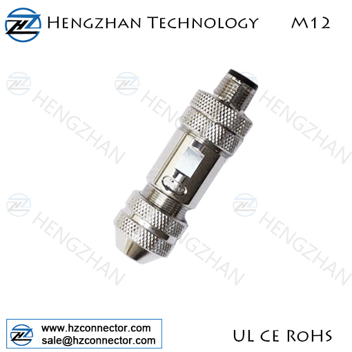 straight A coding M12 power shield connector,M12 4P shield A code male power cable connector