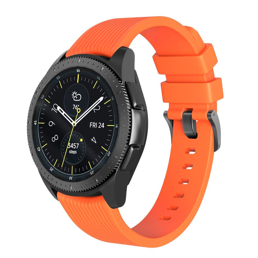 ANCOOL Compatible Galaxy Watch Band 42mm Smart Watch Replacement Silicone Bands for Samsung Galaxy Watch 42mm/Gear S2 Classic R732/Gear Sport Watch/Ticwatch 2/Ticwatch E (Large, Orange)