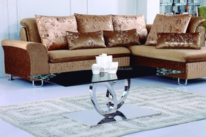 Used furniture hollow silver sunflower petals leg coffee table CT042