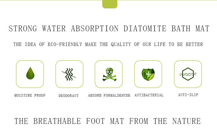 High quality anti slip waterproof floor mat diatomite bath mat diatomaceous earth bath mat