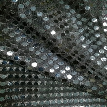 YM free sample 100% polyester 3 or 6mm black sequin fabric