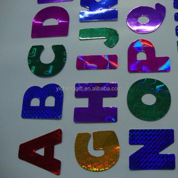 Laser colorful die cut sticker alphabet letter stickers