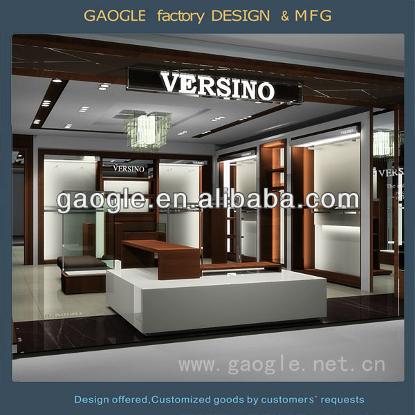 latest wooden men clothing shop interior design display showcase and stand with LED