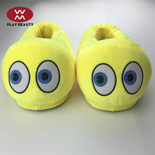 New Arrival Factory Customized Design Emoji Plush Slippers Soft Cute Plush Whatsapp Flip Flop For Adult Kids