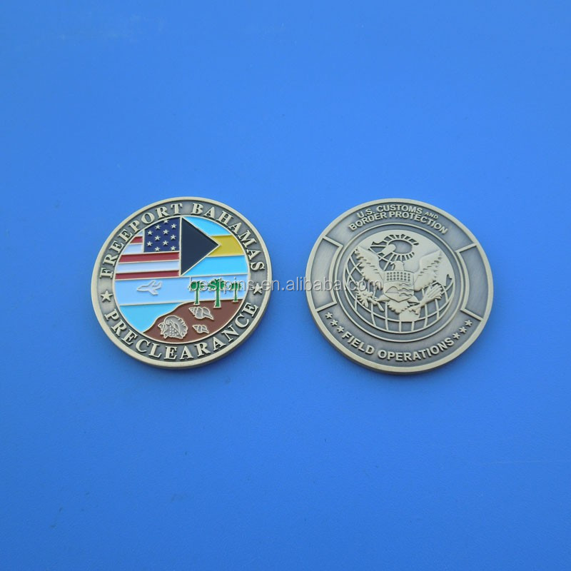 US customs and border protection souvenirs coins custom silver American flag