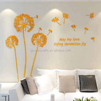 My love riding dandelion fly wall decor decals 3D Flower Acrylic wall stickers TV background decoration & My Love Riding Dandelion Fly Wall Decor Decals 3d Flower Acrylic ...