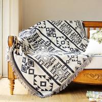 100%cotton knit blanket black white cotton plaid cotton throw woven for sofas