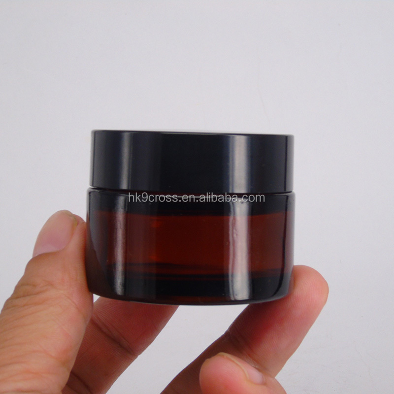 Cheap Empty Glass Amber Face Cream Cosmetic Jar 30g 50g 100g