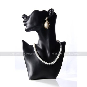 Black Head Mannequin Necklace Pendant Earring Display Stand Jewelry Bust Figurine Afellow Afnpd21