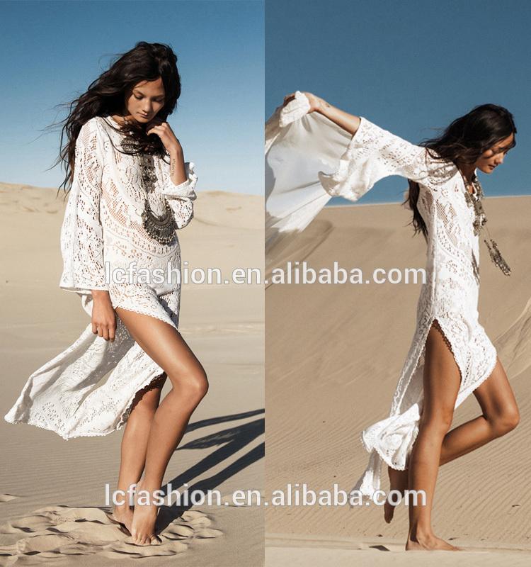 3b3d48d7fa86 women dresses summer Vintage Boho Style Lace Crochet White Long Sleeve Maxi  Dresses