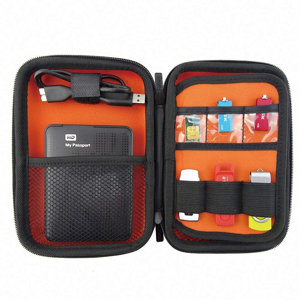 GUANHE Multi-functional 2.5 Inch Mobile Hard Disk Storage Case Waterproof Electronic Accessories Case Bag Travel Gadget Case For Cables, SD Cards And USB Flash Disk In Red