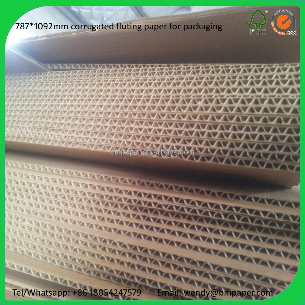 e flute corrugated paper roll/sheet 50/70/90GSM fluting and testliner paper