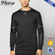 65% Cotton 35% Polyester Long Line Leather Woven Sleeve Sweatshirts
