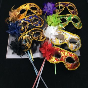wholesale Venetian princess masquerade masks with stick, party stick mardi gras mask