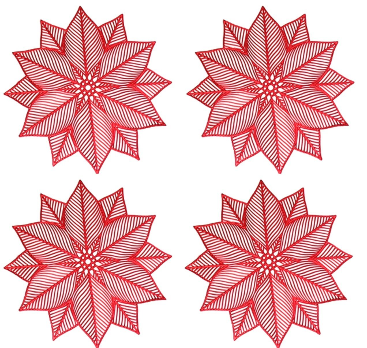 Benson Mills Modern Poinsettia Pressed Vinyl Placemats, Red, Set of 4
