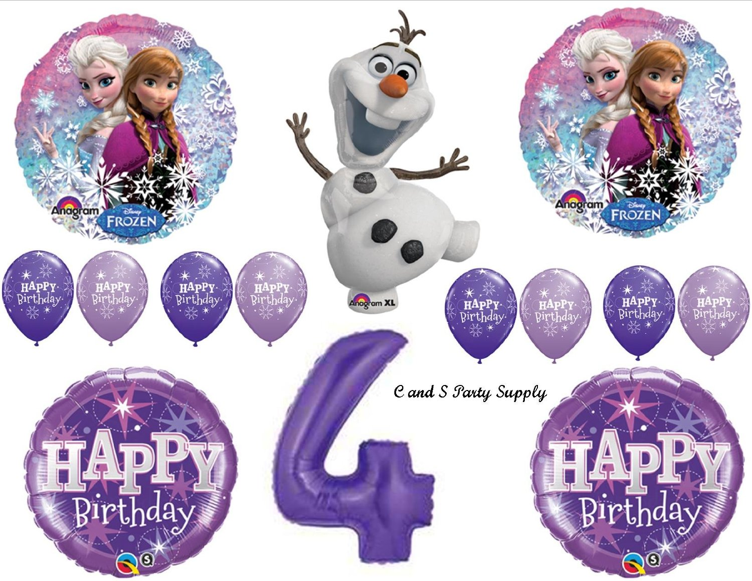 Frozen Olaf Purple 4th Disney Movie BIRTHDAY PARTY Balloons Decorations Supplies