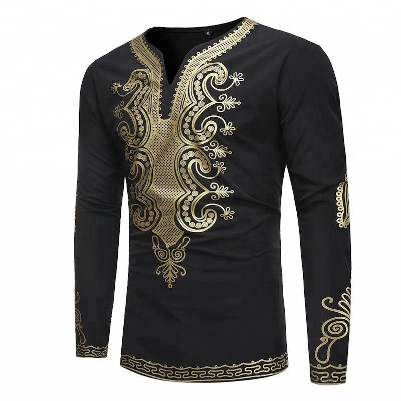 Wholesale New Africa Style T-Shirts gold stamping Printed mens t-shirts
