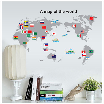 Children Kids Room World Map Wall Sticker Home Decoration Colorful ...