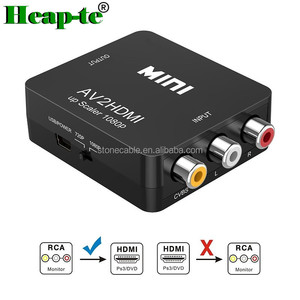 RCA to HDMI, 1080P Mini RCA Composite CVBS AV to HDMI Video Audio Converter Adapter Supporting PAL/NTSC with USB Charge Cable