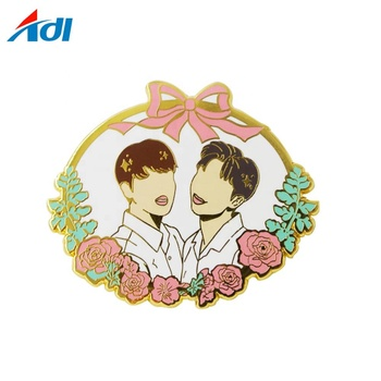 Custom metal hard enamel kpop music rose gold lapel pins
