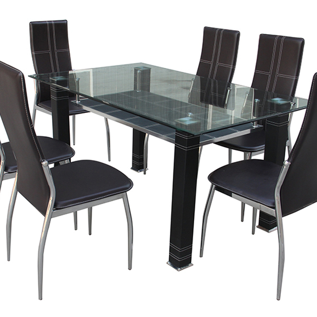 Wholesale Glass Dining Table Metal Frame No Fold Top