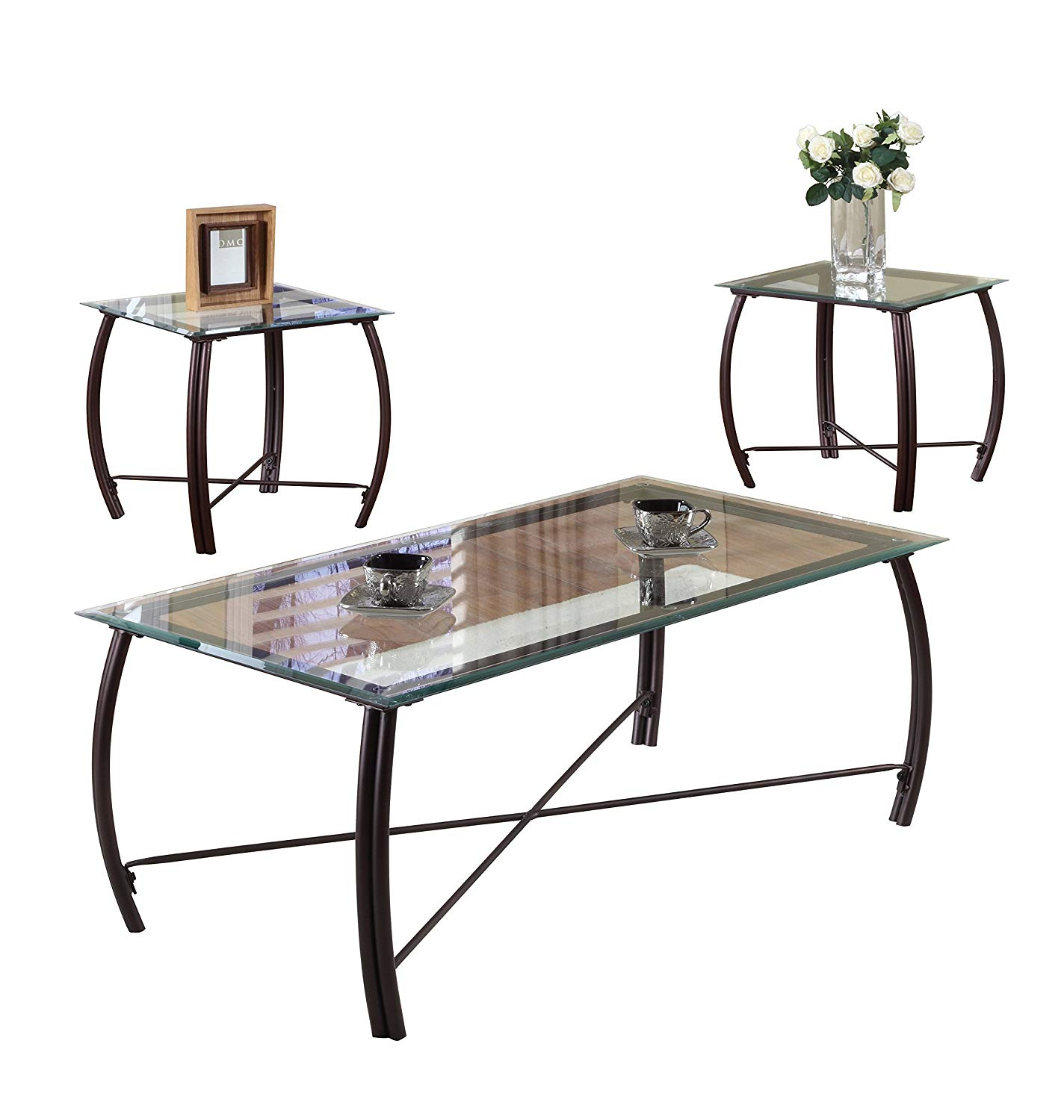 Get Quotations Pilaster Designs 3 Pc Beveled Gl And Copper Bronze Metal Frame Coffee Table