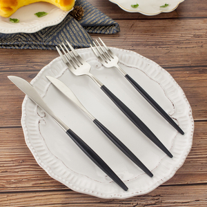 Restaurant Hotel Supplies Silver Color Black Metal Cutlery