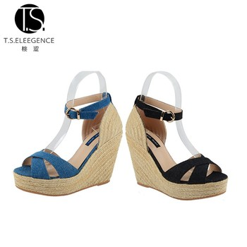 03d3fdabfd3 Comfortable Jean Cross-strap Denim Wedge High Heel Blue Espadrille Wedges  Sandals Shoes For Women - Buy Wedge Sandals,Wedge Espadrille Shoes,Blue ...