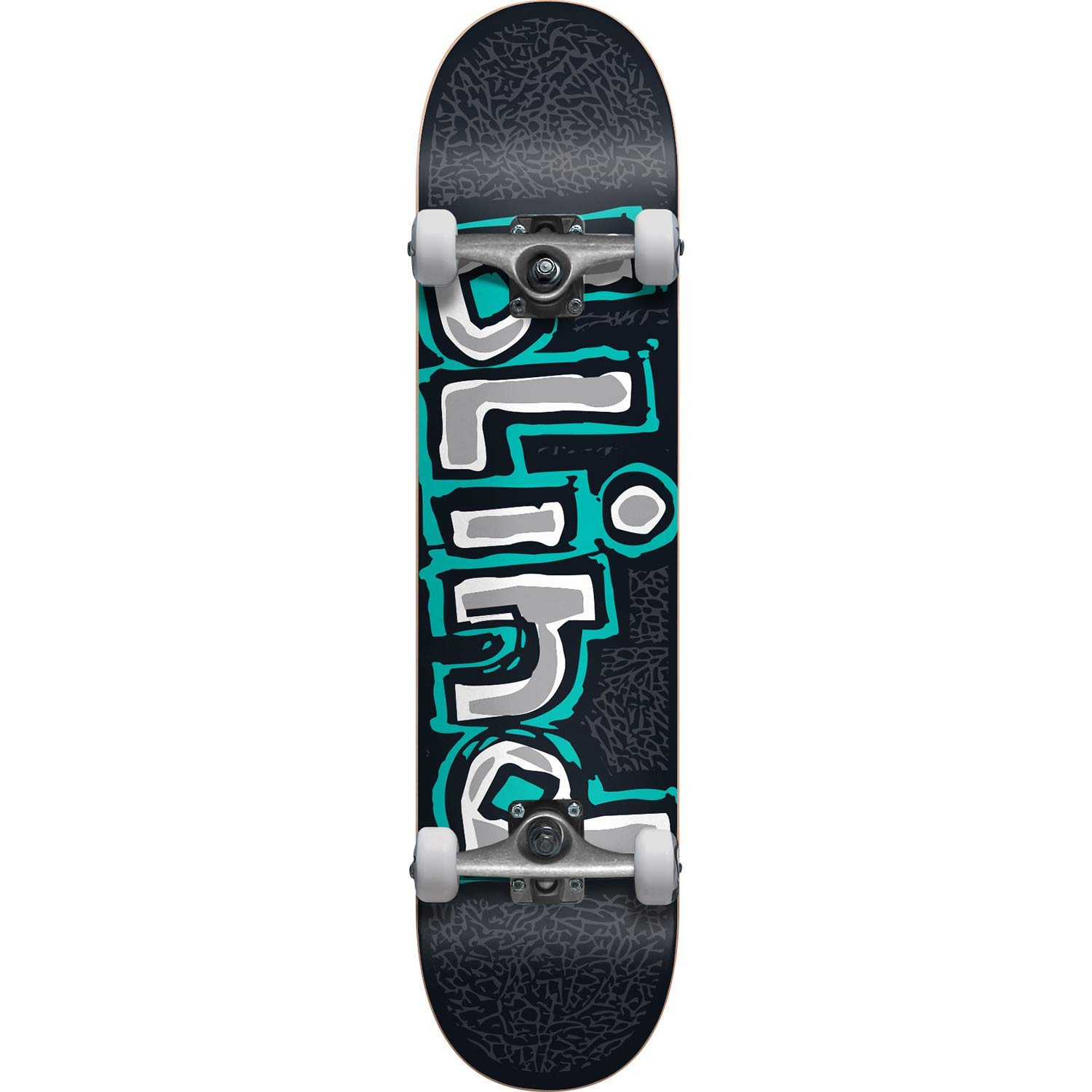 "Blind Skateboards Athletic Skin Black/Teal Mid Complete Skateboards - 7.5"" x 31.1"""