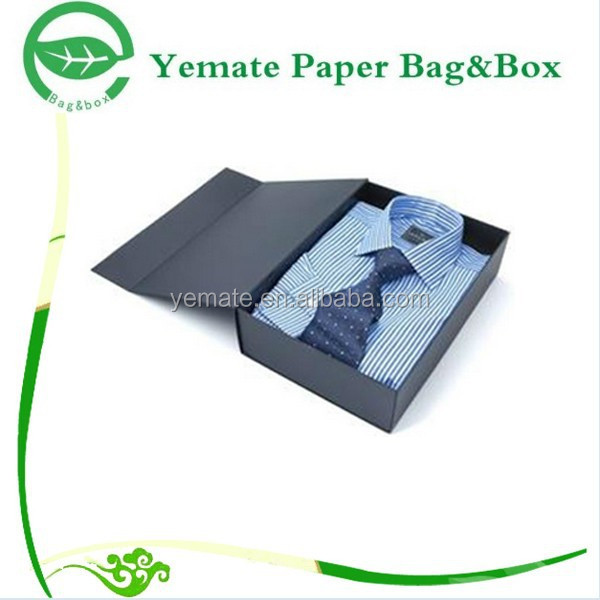 Wholesale Flat Pack Printed Fancy Folding Paper Men Dress Shirt Boxes with Lids, Black Shirt Packaging Box with Magnetic Closure