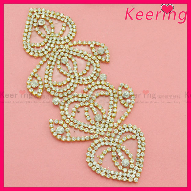 wholesale new design gold metal clear crystal iron on rhinestone diamond on clothing WRP-019