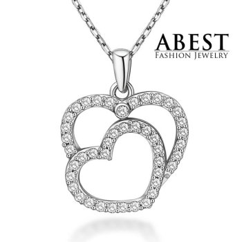Hot Sale Heart Pendant Sterling 925 Silver Plating 18K White Gold Elegant Pendant Necklace Jewelry
