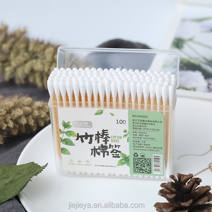 100pcs bamboo q tips in square box