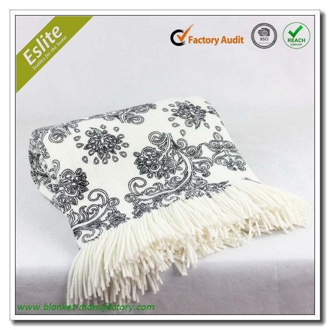 Acrylic Knitted Printed Fringed Custom Throw Blanket