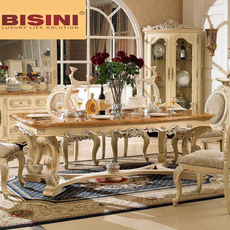 Bisini Wooden Top Long Dining Table 8 Seats Seater Marble