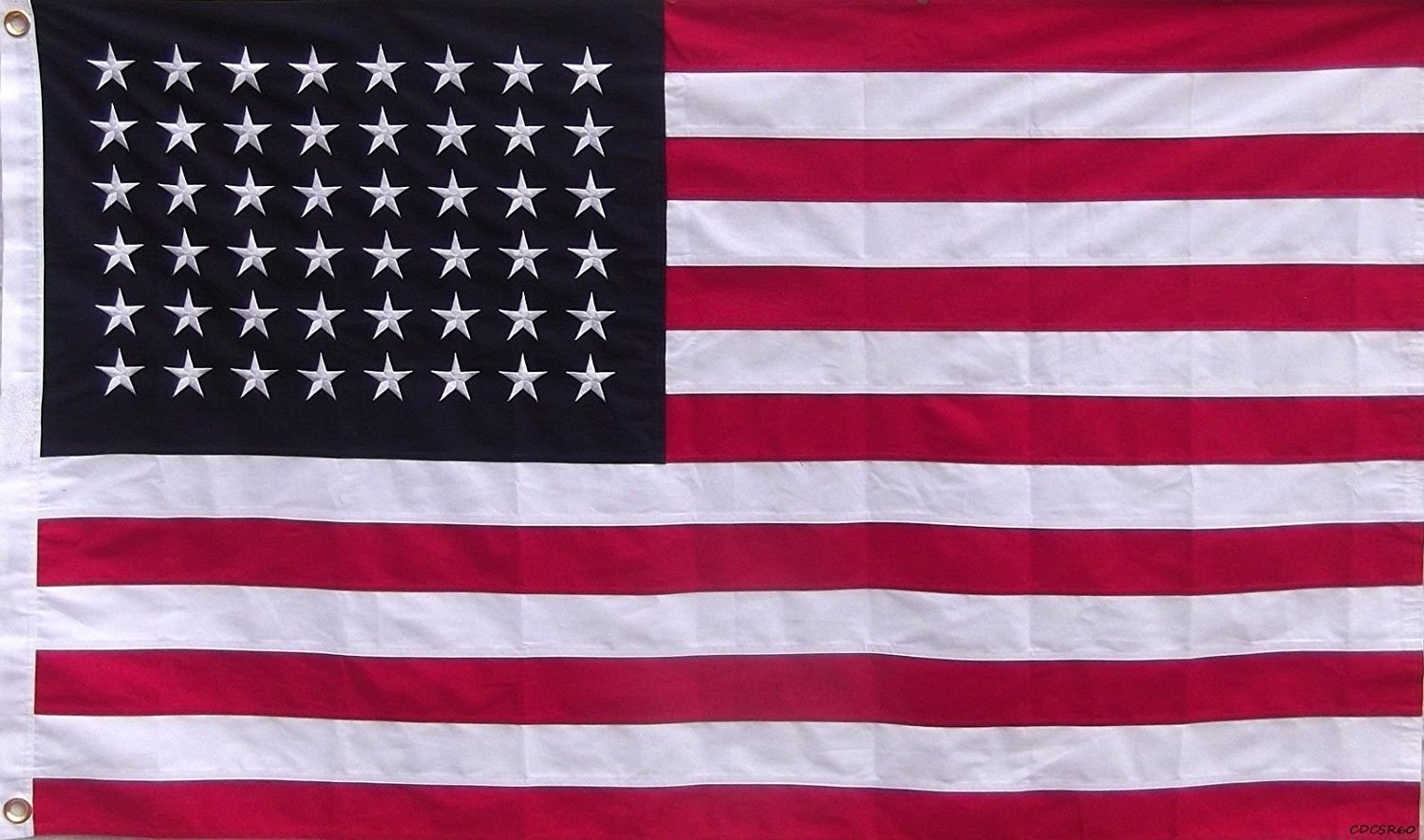 3x5 Embroidered Sewn American 48 Star Linear Cotton Flag 3'x5' (hand sewn)
