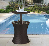 Innovative hotel swimming pool use retractable cocktail ice bucket outdoor rattan cooler table