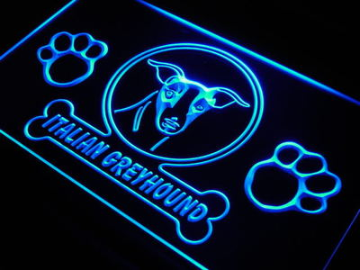 j966-b <font><b>Italian</b></font> Greyhound Dog Pet Shop LED Neon Light Sign On/Off Switch 7 Colors