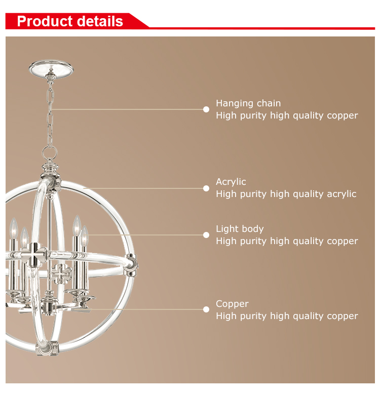 Modern american style 4 light round brass candle with acrylic hanging pendant lamp
