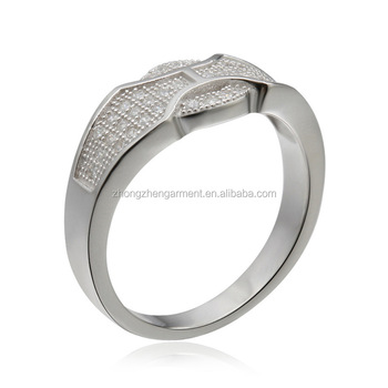 2017 Fashion Latest Designs Gold Plated Cz Silver Wedding Rings For