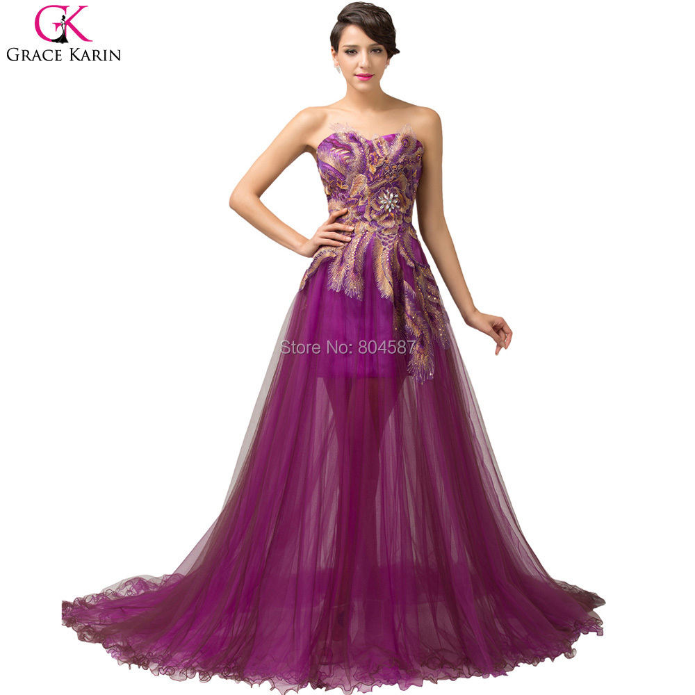 Get Quotations · New Grace Karin Lace Up Strapless Tulle Peacock Feather  Formal Mermaid Long Purple Evening Dress Ball c0bba6e6b787