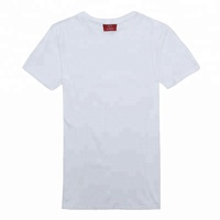 Custom print 100% cotton short sleeve round neck men's plain blank white cotton t shirts