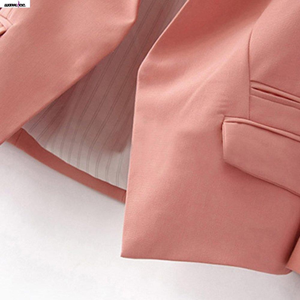 Womdee женщин мода слоеного рукав пуговиц костюм офис пиджаки