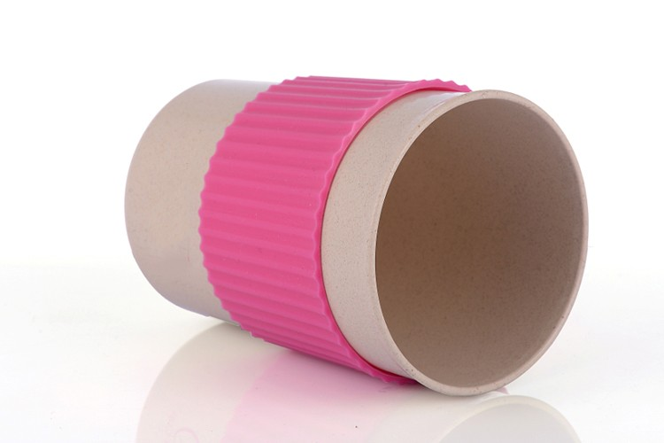 Eco Friendly Rice Husk Cup With Silicone Wrap And Lid