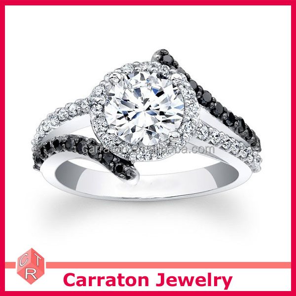 new arrival real 925 silver rhodium plated black and white cz wedding ring