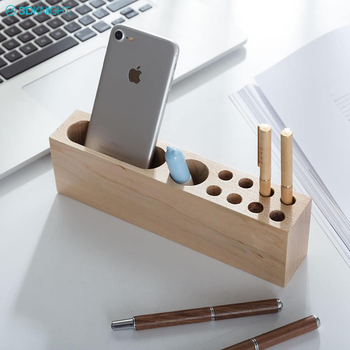 Hot Sale Office Supplies Desktop Storage Box Stationery Solid Wood Pen Holders