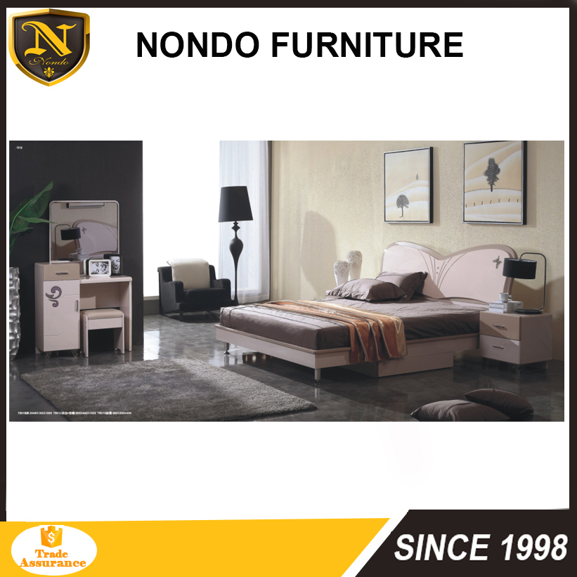 Latest Wooden Double Cheap Mdf Bed Frame Design Furniture Slat Bed